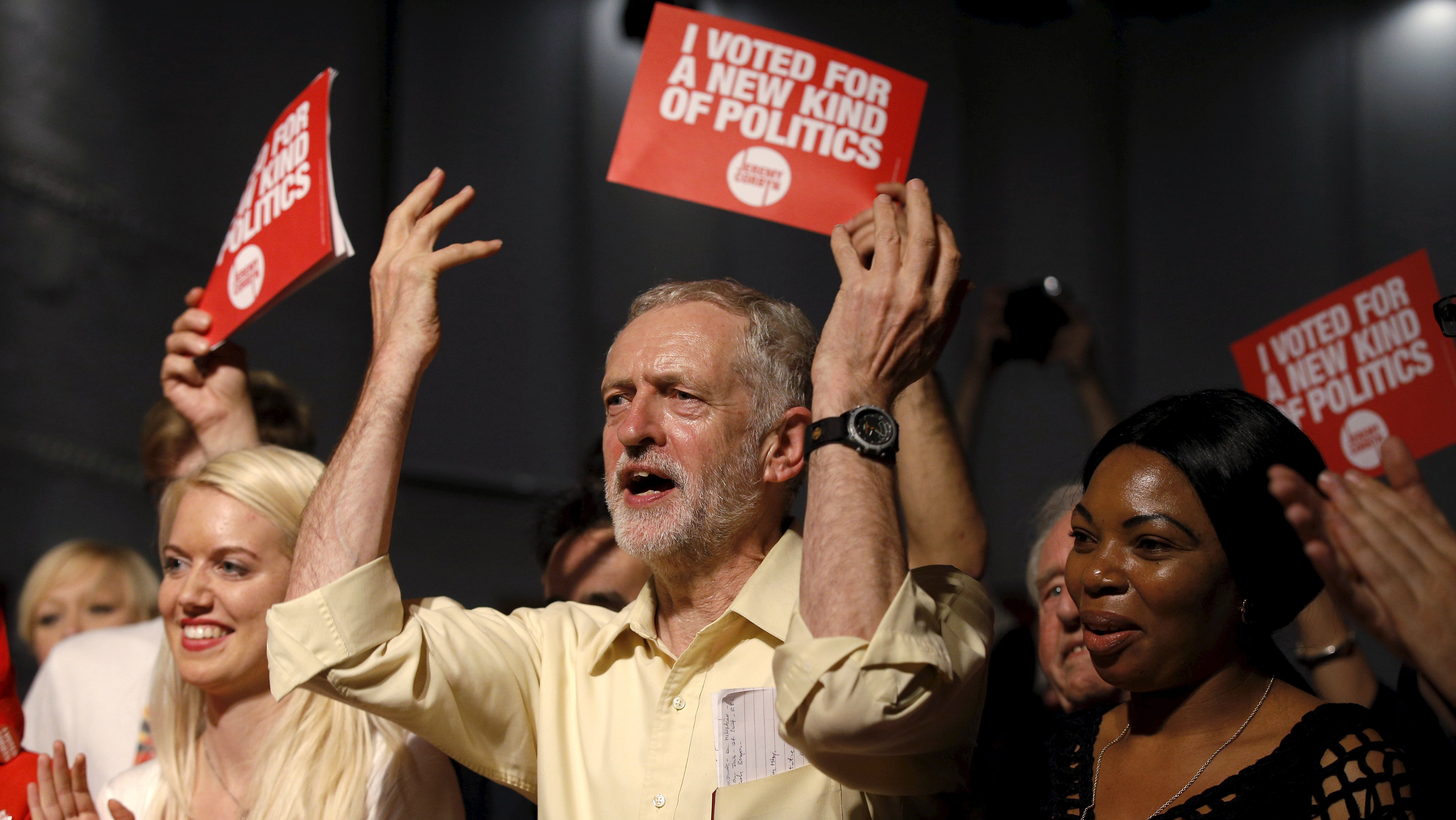Labour Party leadership candidate Jeremy Corbyn gestures during a rally in London.
