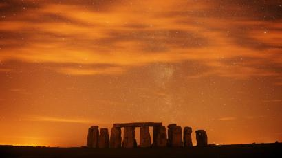 A general view of Stonehenge during the annual Perseid meteor shower in the night sky in Salisbury Plain.