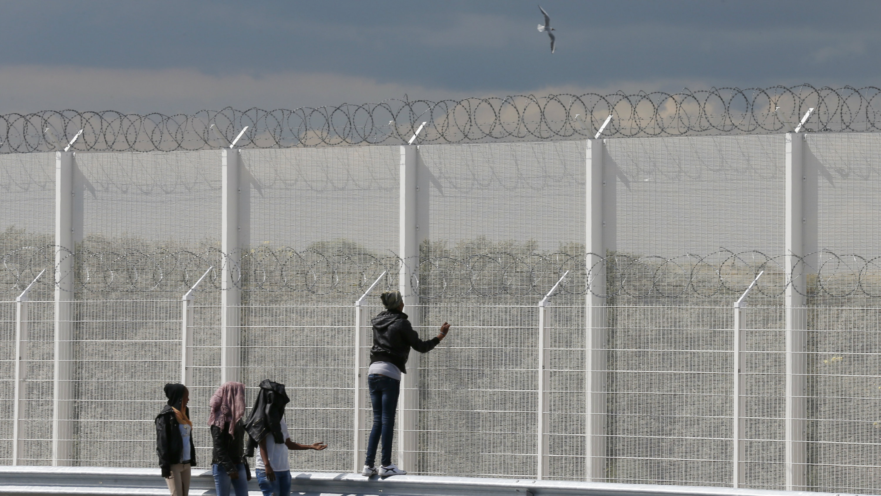 Migrants walk past the barbed wire fence on the main access route to the Ferry harbour Terminal in Calais, northern France, July 30, 2015