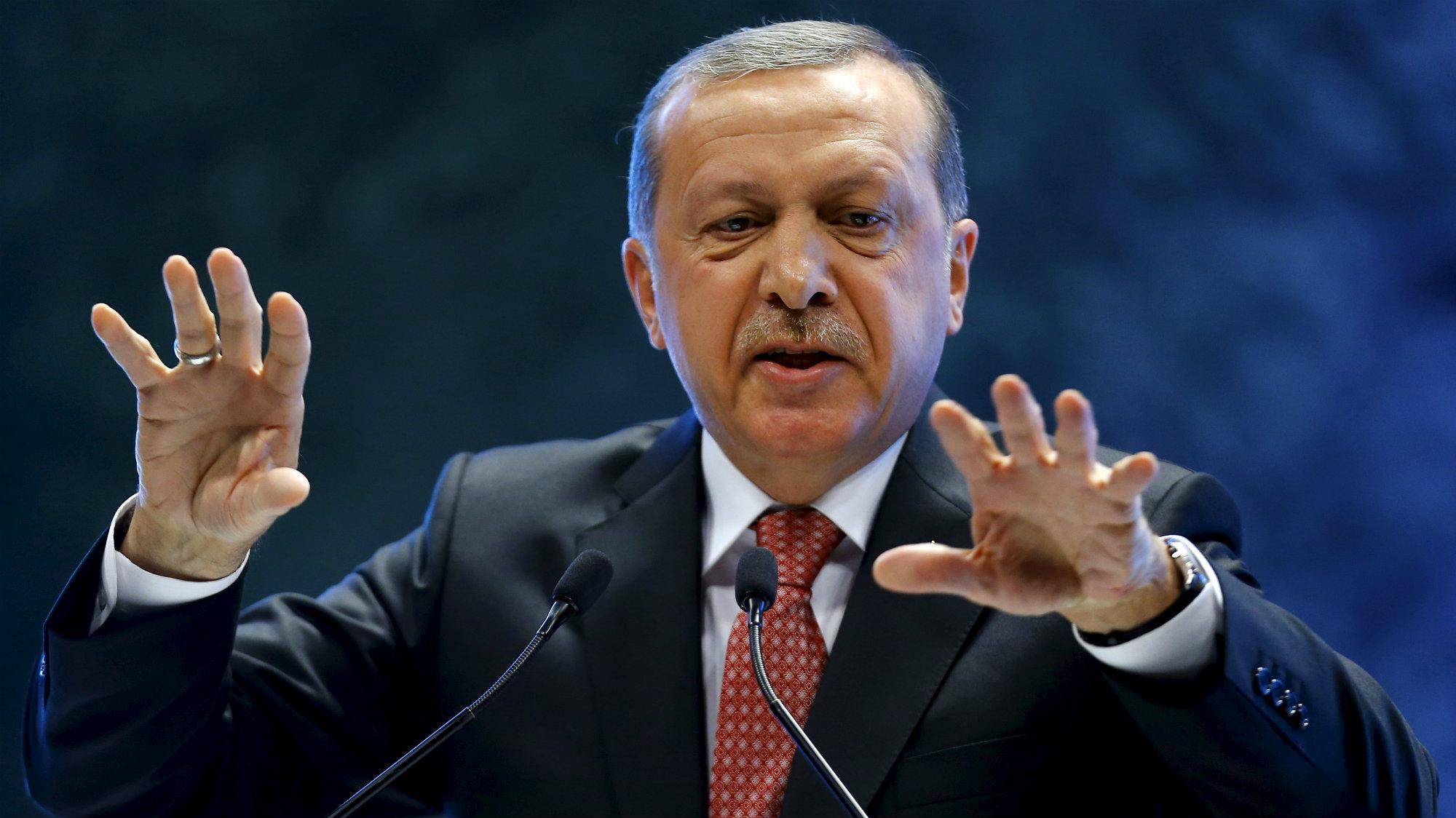 Turkey's President Tayyip Erdogan addresses a conference in Ankara, Turkey, September 3, 2015.