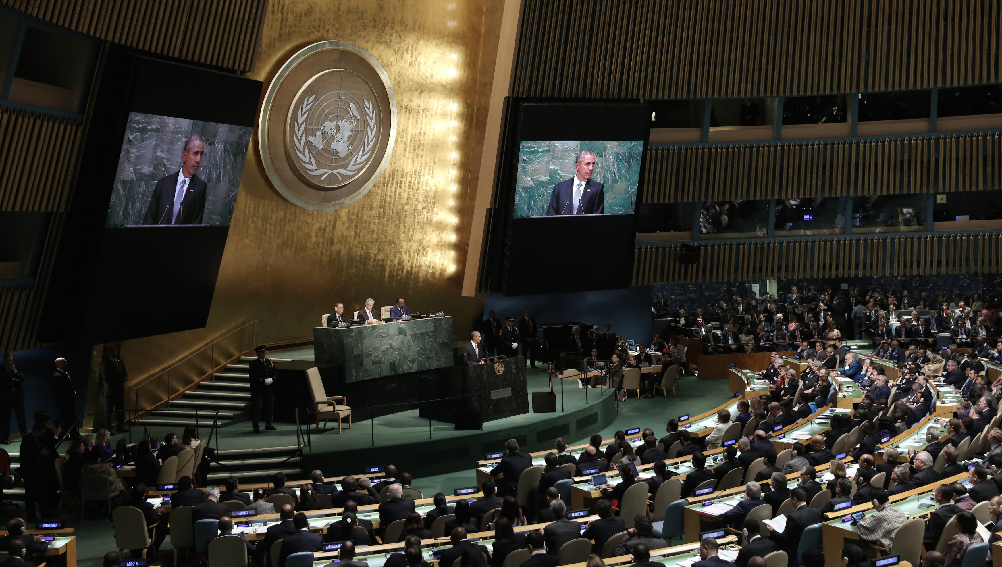 U.S. President Barack Obama addresses attendees during the 70th session of the United Nations General Assembly at the U.N. Headquarters in New York