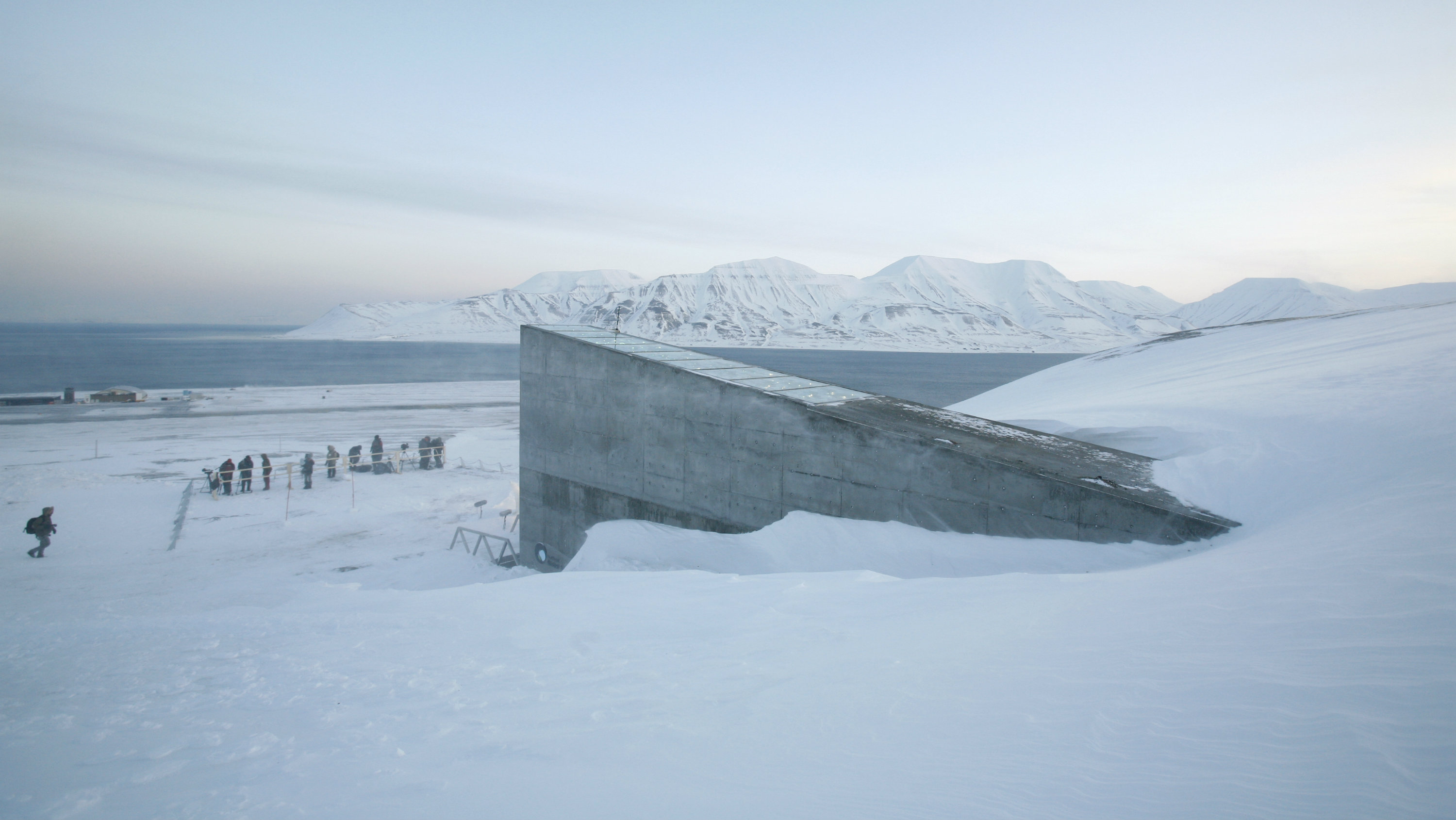 Television crews stand outside the Global Seed Vault before the opening ceremony in Longyearbyen February 26, 2008