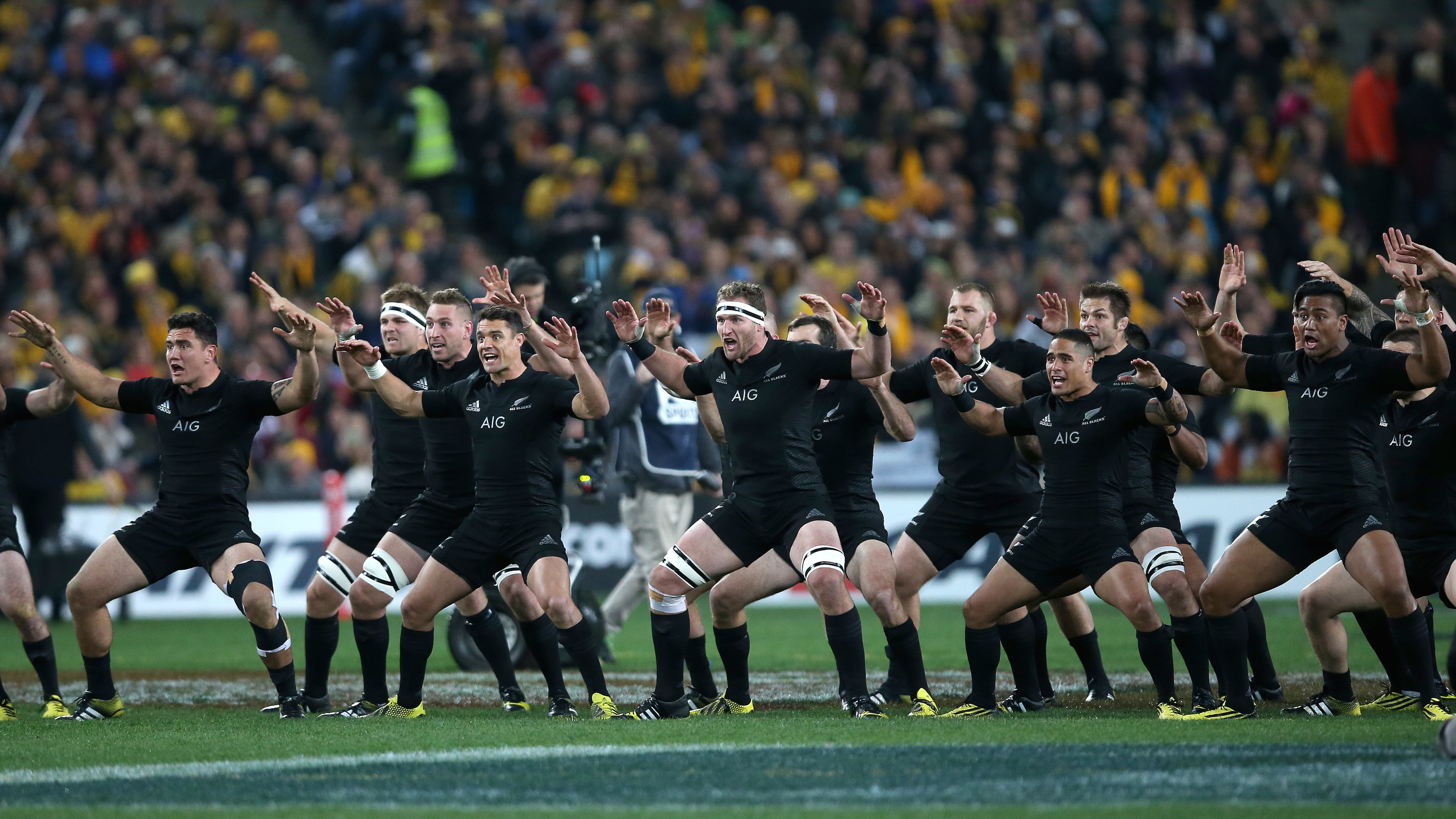 The All Blacks perform the haka before the start of the 2015 Rugby World Cup Pool C match between Argentina and New Zealand in London.