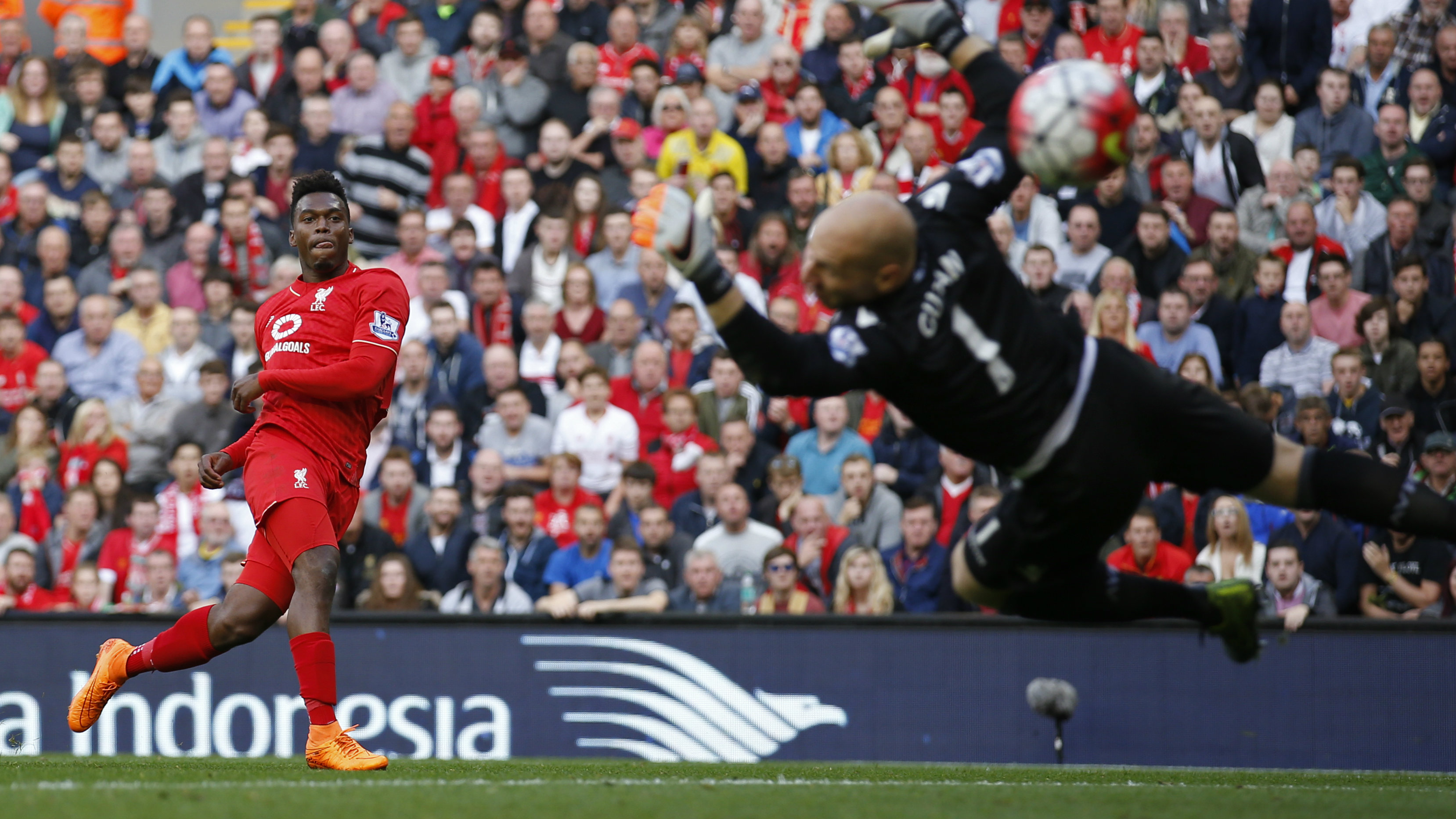 Football - Liverpool v Aston Villa - Barclays Premier League - Anfield - 26/9/15 Liverpool's Daniel Sturridge scores their second goal.