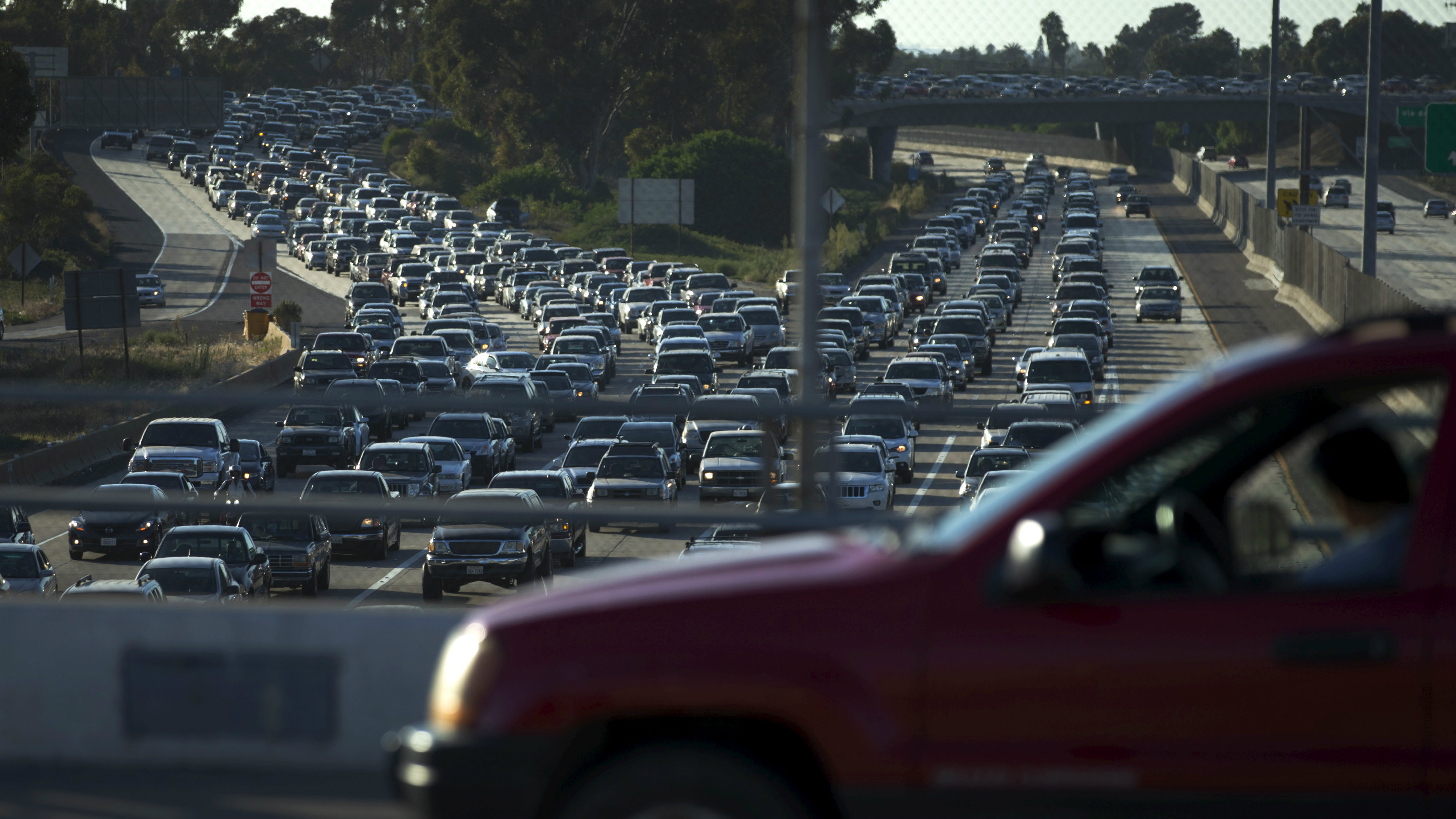 Traffic backs-up going south into Mexico in the border town of San Ysidro, California. September 3, 2015.