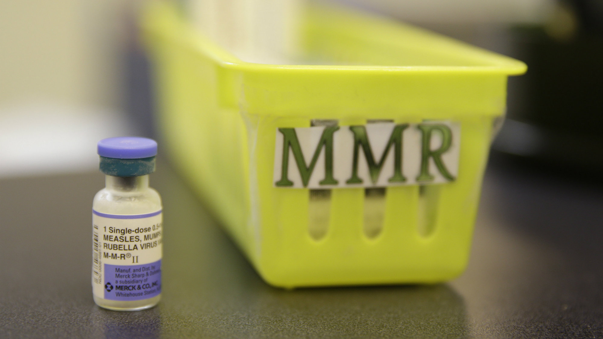 A measles vaccine on a countertop at the Tamalpais Pediatrics clinic in Greenbrae, Calif.