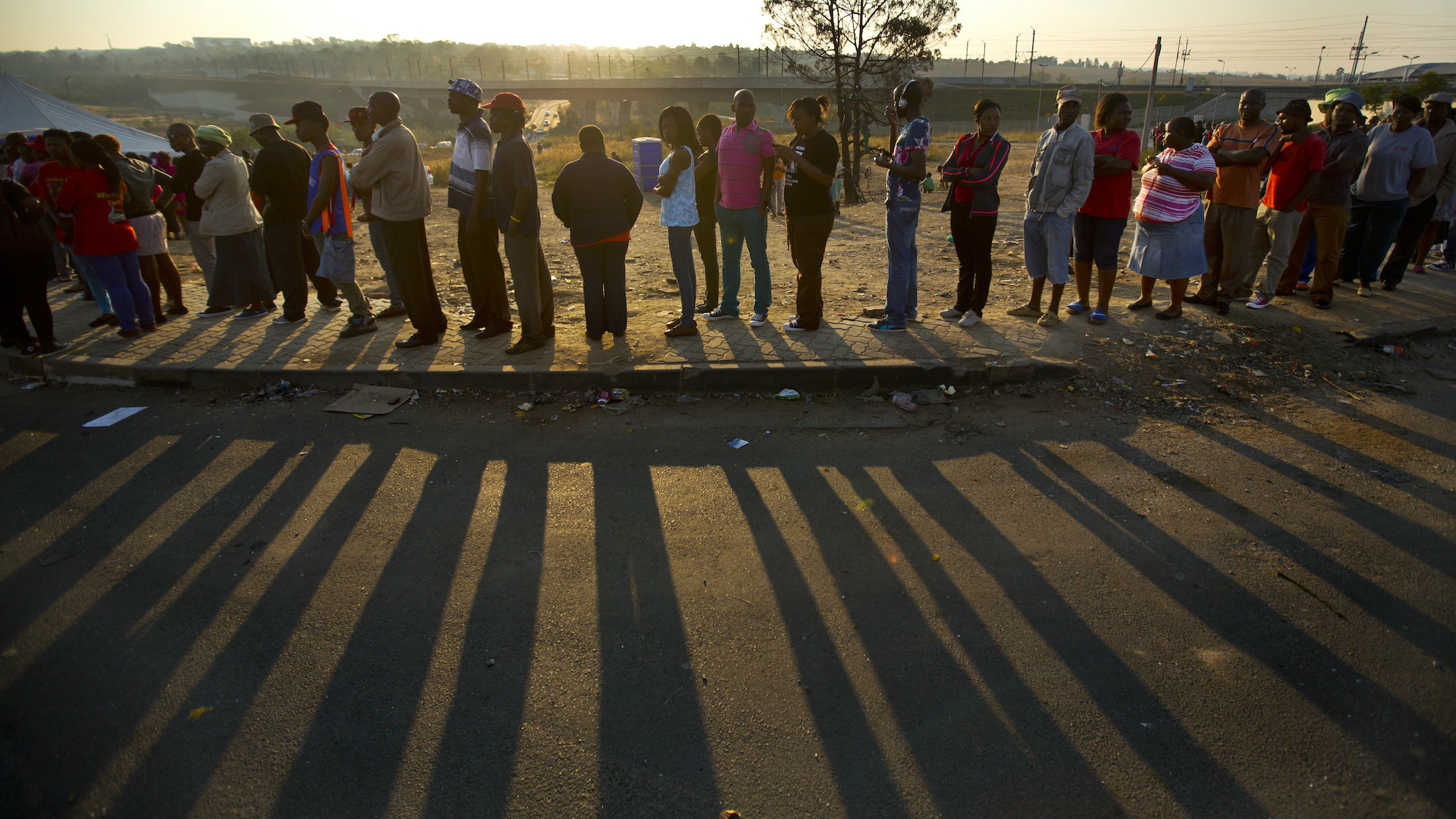 Voters in Alexandra township wait to cast their vote during general elections last May.