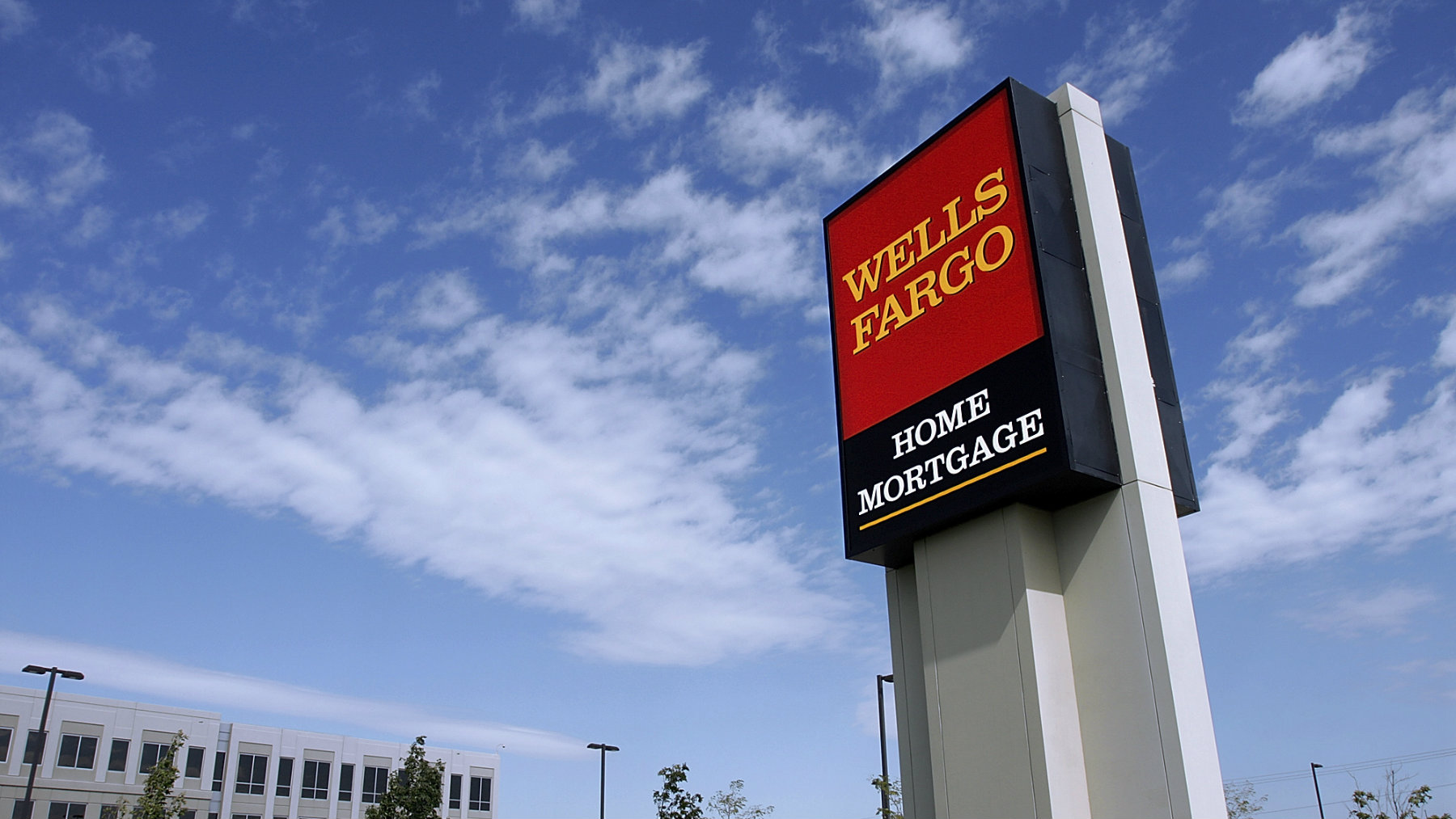 The Wells Fargo logo is displayed outside a home mortgage office in Springfield, Illinois.