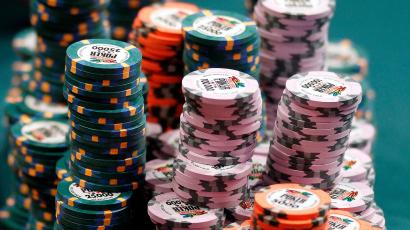 A stack of chips sits on a table during the main event at the World Series of Poker Tuesday, July 19, 2011, in Las Vegas. (AP Photo/Isaac Brekken)