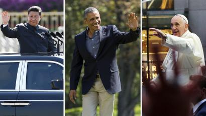 Xi Jinping, Barack Obama, and Pope Francis each wave.