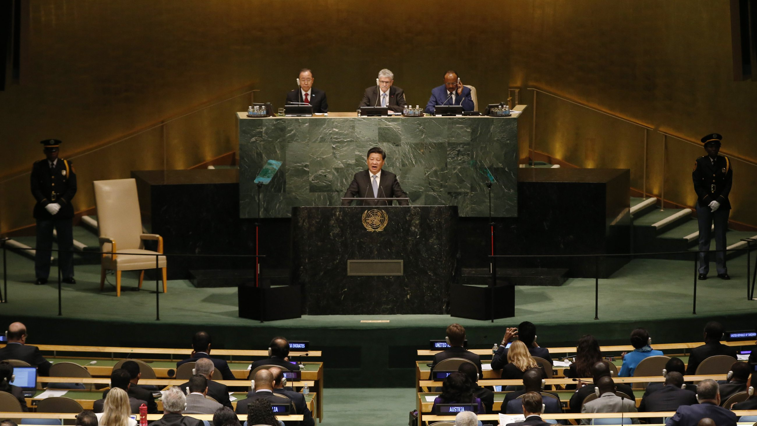 President Xi Jinping of China addresses attendees during the 70th session of the United Nations General Assembly at the U.N. Headquarters in New York, September 28, 2015.