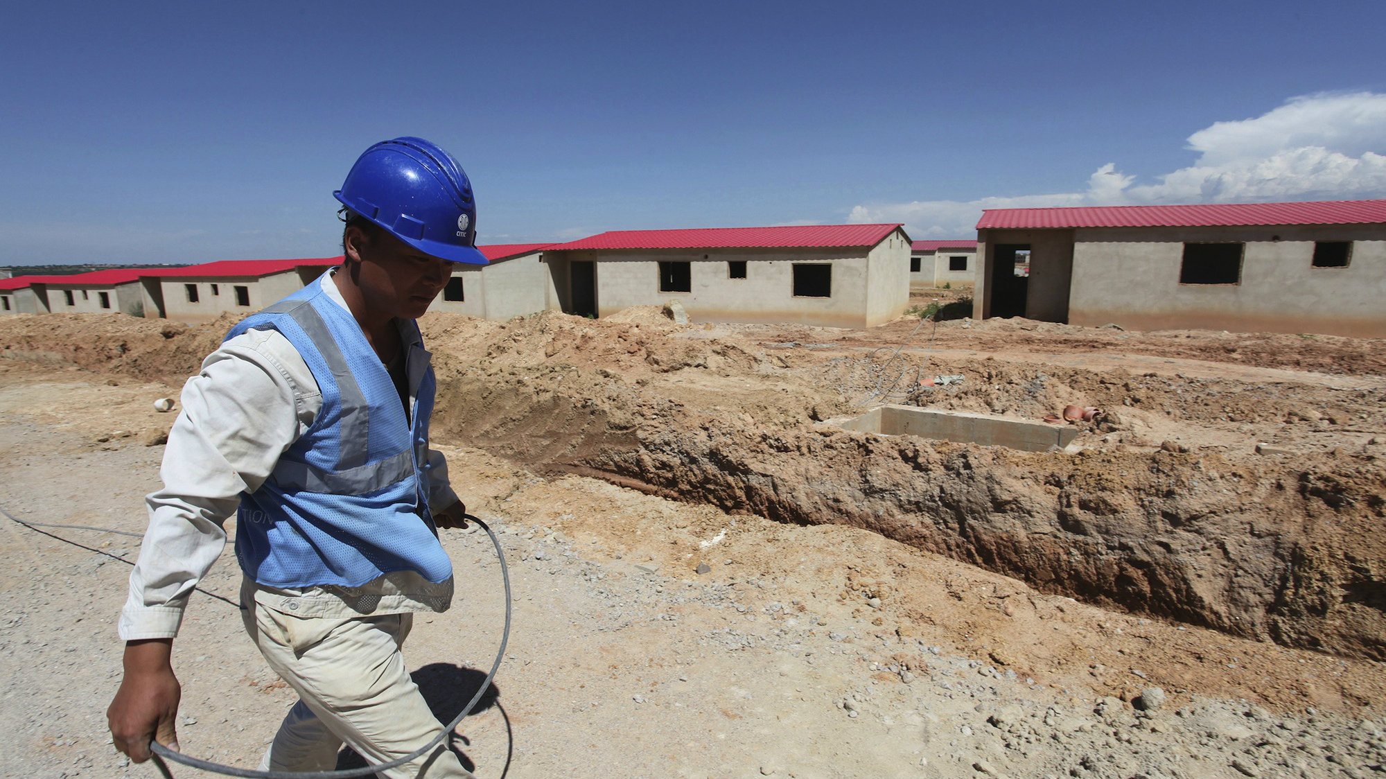 A Chinese worker at a construction site in Lubango, Angola.