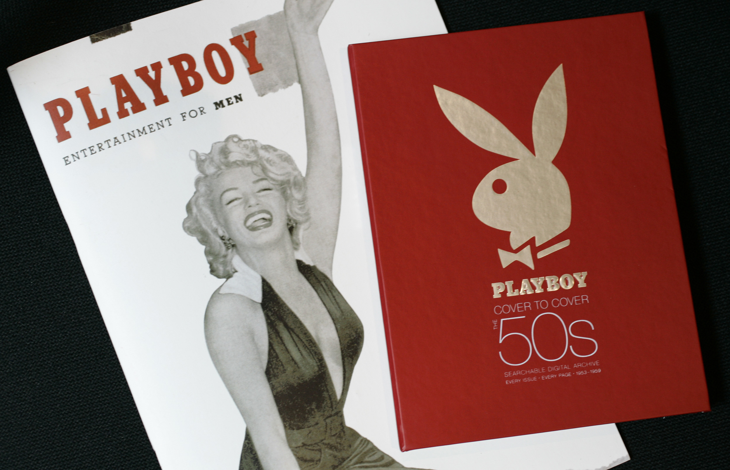 A picture of the first Playboy magazine with Marilyn Monroe on the cover
