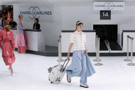 A model wears a creation for Chanel's Spring-Summer 2016 ready-to-wear fashion collection presented during the Paris Fashion Week, Tuesday, Oct. 6, 2015 in Paris, France. (AP Photo/Francois Mori)