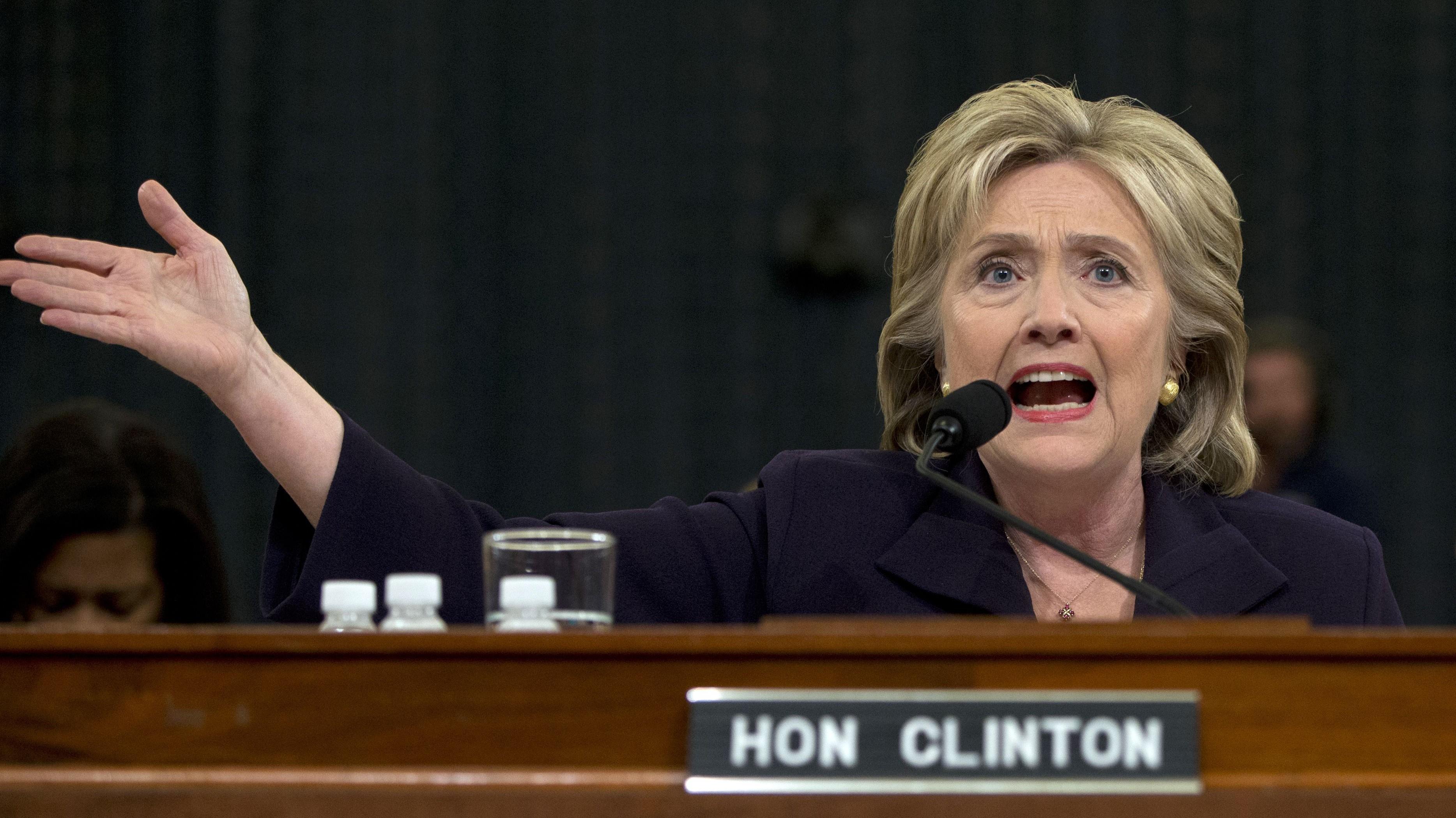 Hillary Rodham Clinton testifies on Capitol Hill in Washington, Thursday, Oct. 22, 2015