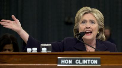 Hillary Rodham Clinton testifies on Capitol Hill in Washington, Thursday, Oct. 22, 2015
