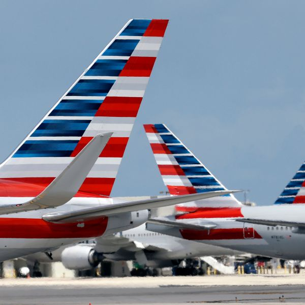 American Airlines aircraft taxi at Miami International Airport, in Miami.