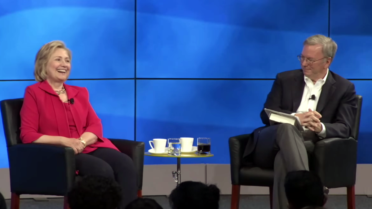 Clinton and Schmidt at a 2014 Google event just days after the Groundwork was incorporated.