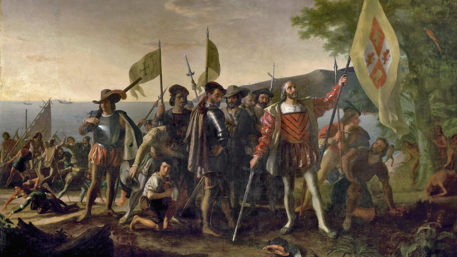 Christopher Columbus arrives on the San Salvador peninsula, Bahamas, 1492.
