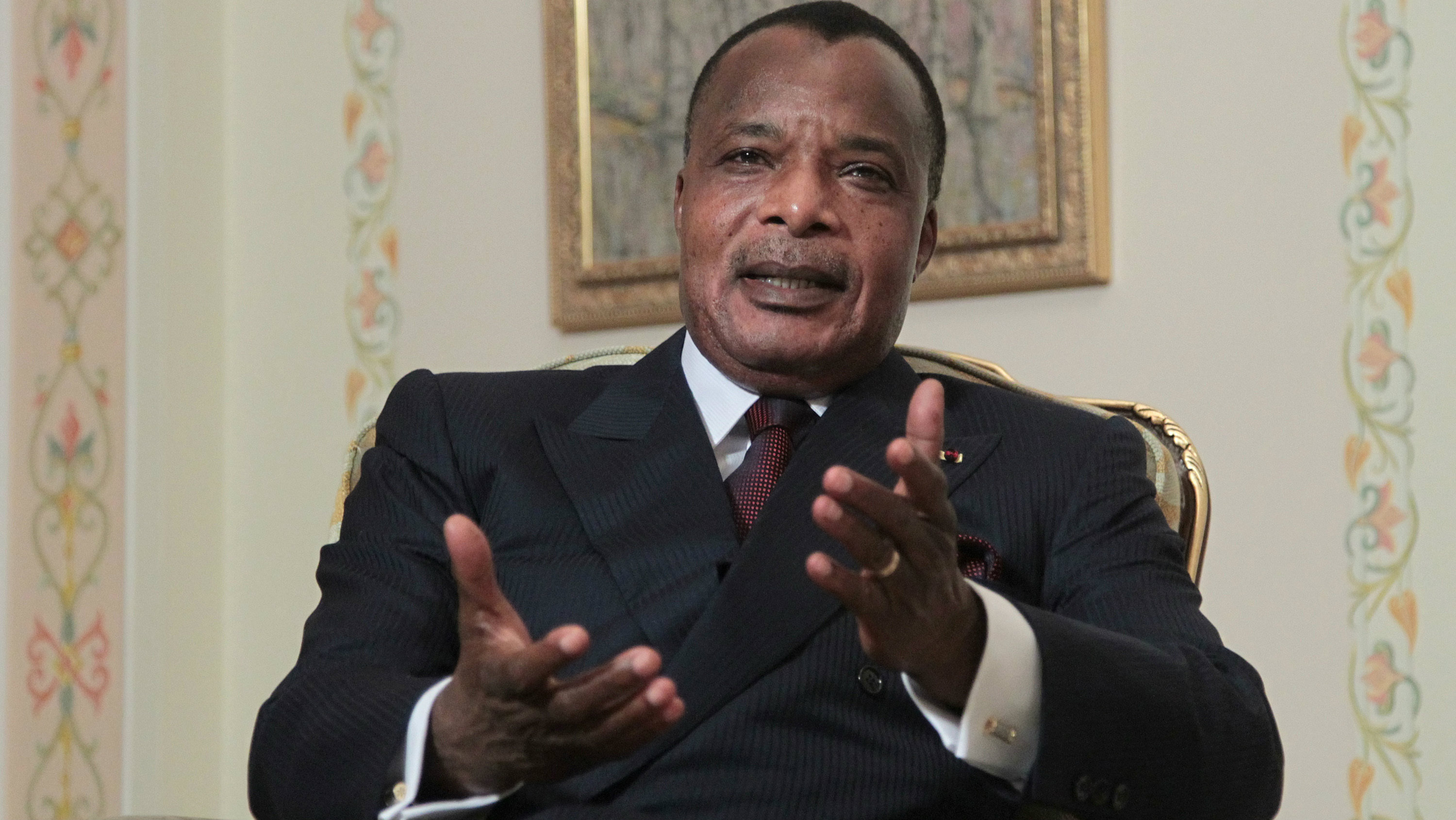 President of the Republic of Congo, Denis Sassou-Nguesso speaks during a meeting with Russian President Vladimir Putin in the Novo-Ogaryovo residence outside Moscow, Russia, Tuesday, Nov. 13, 2012. (AP Photo/Maxim Shipenkov, Pool)