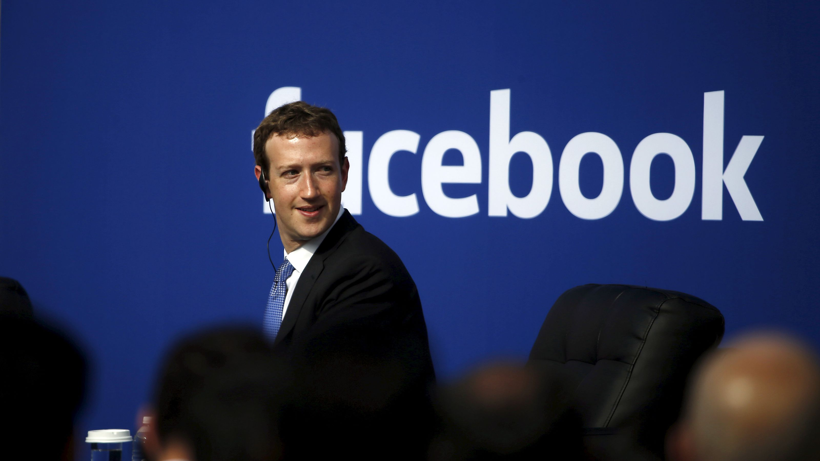 Facebook CEO Mark Zuckerberg is seen on stage during a town hall with Indian Prime Minister Narendra Modi at Facebook's headquarters in Menlo Park, California September 27, 2015.