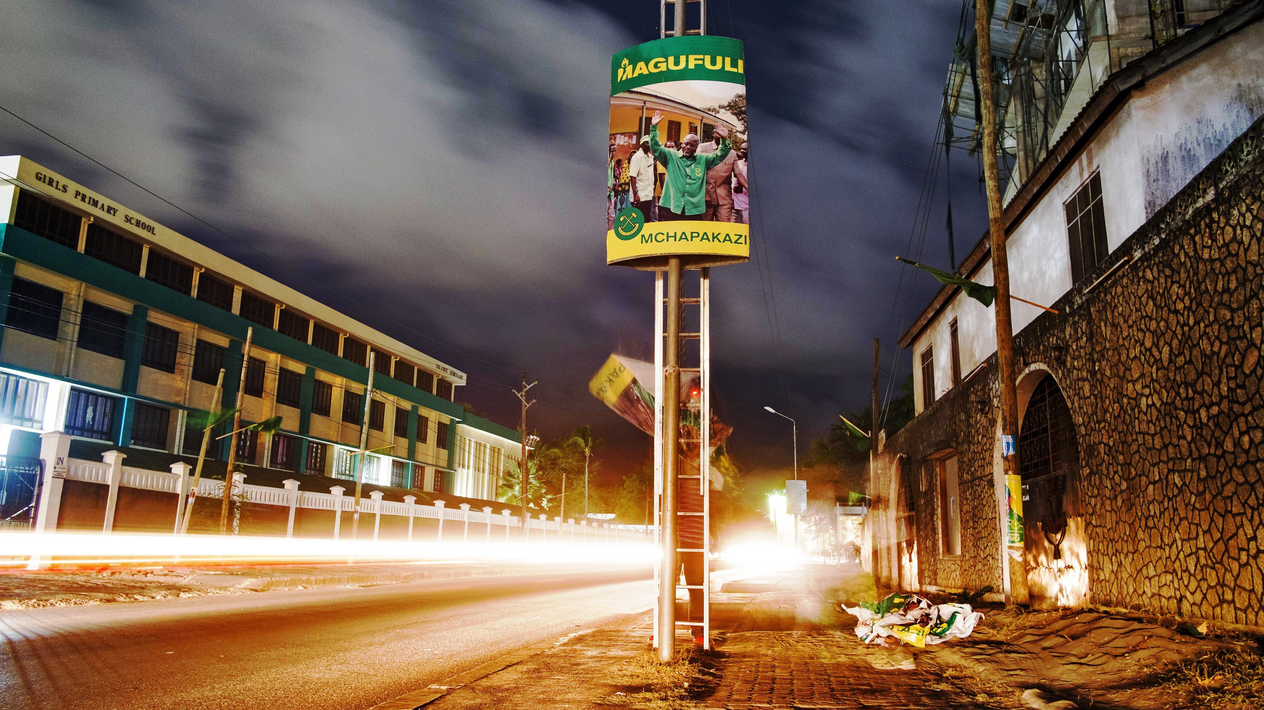 A campaign poster for Chama Cha Mapinduzi (CCM) presidential candidate John Magufuli is pictured in Dar es Salaam, Tanzania on October 22, 2015.
