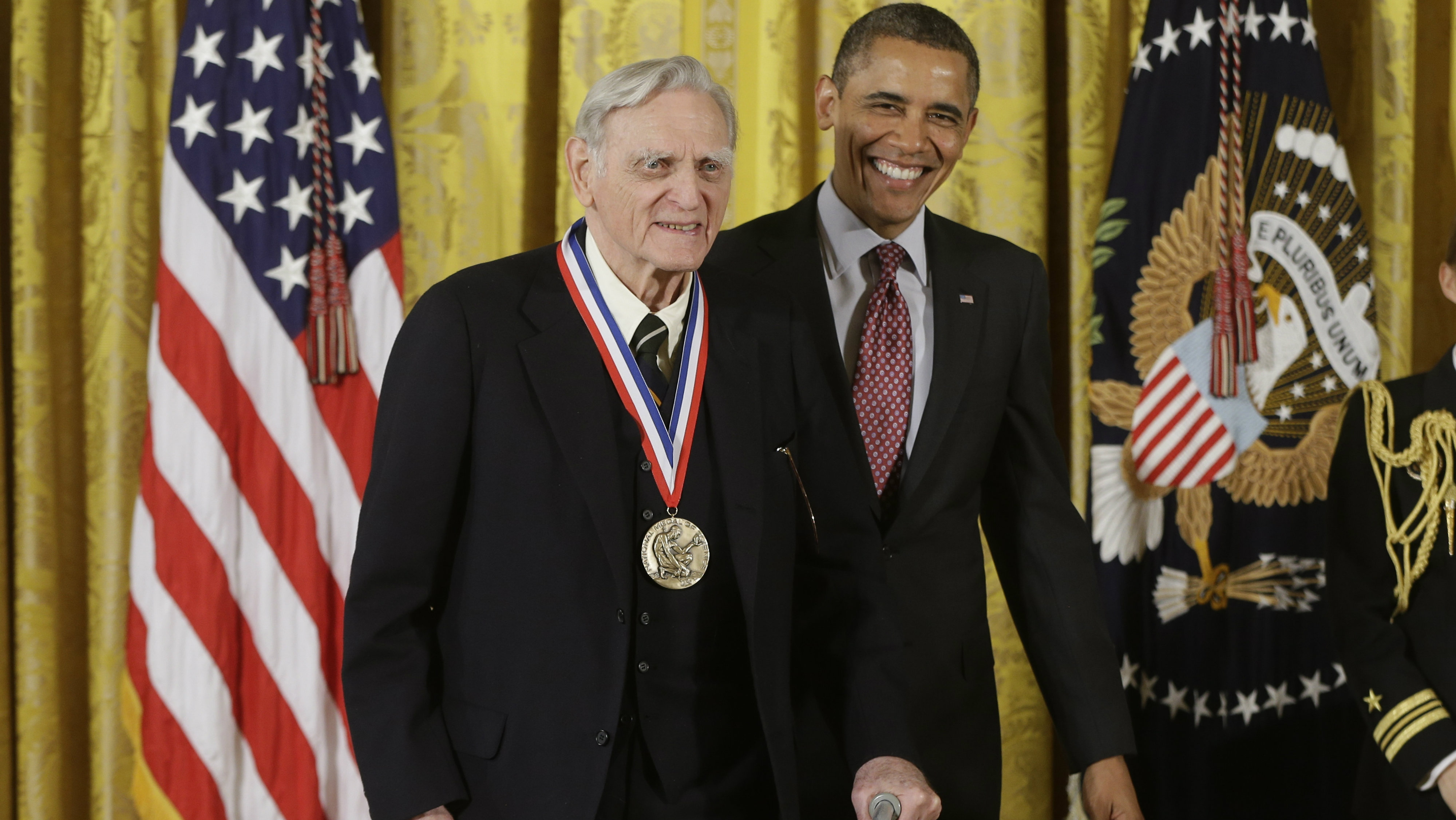 President Barack Obama awards the National Medal of Science to Dr. John Goodenough of the University of Texas, Friday, Feb. 1, 2013, during a ceremony in the East Room of the White House in Washington.