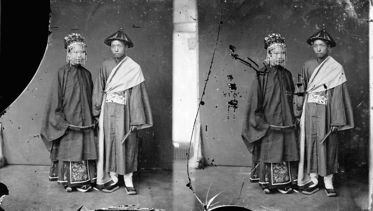 L0056859 Credit: Wellcome Library, London Canton (Guangzhou), Kwangtung province, China: a Cantonese bride and groom. Photograph by John Thomson, 1869.