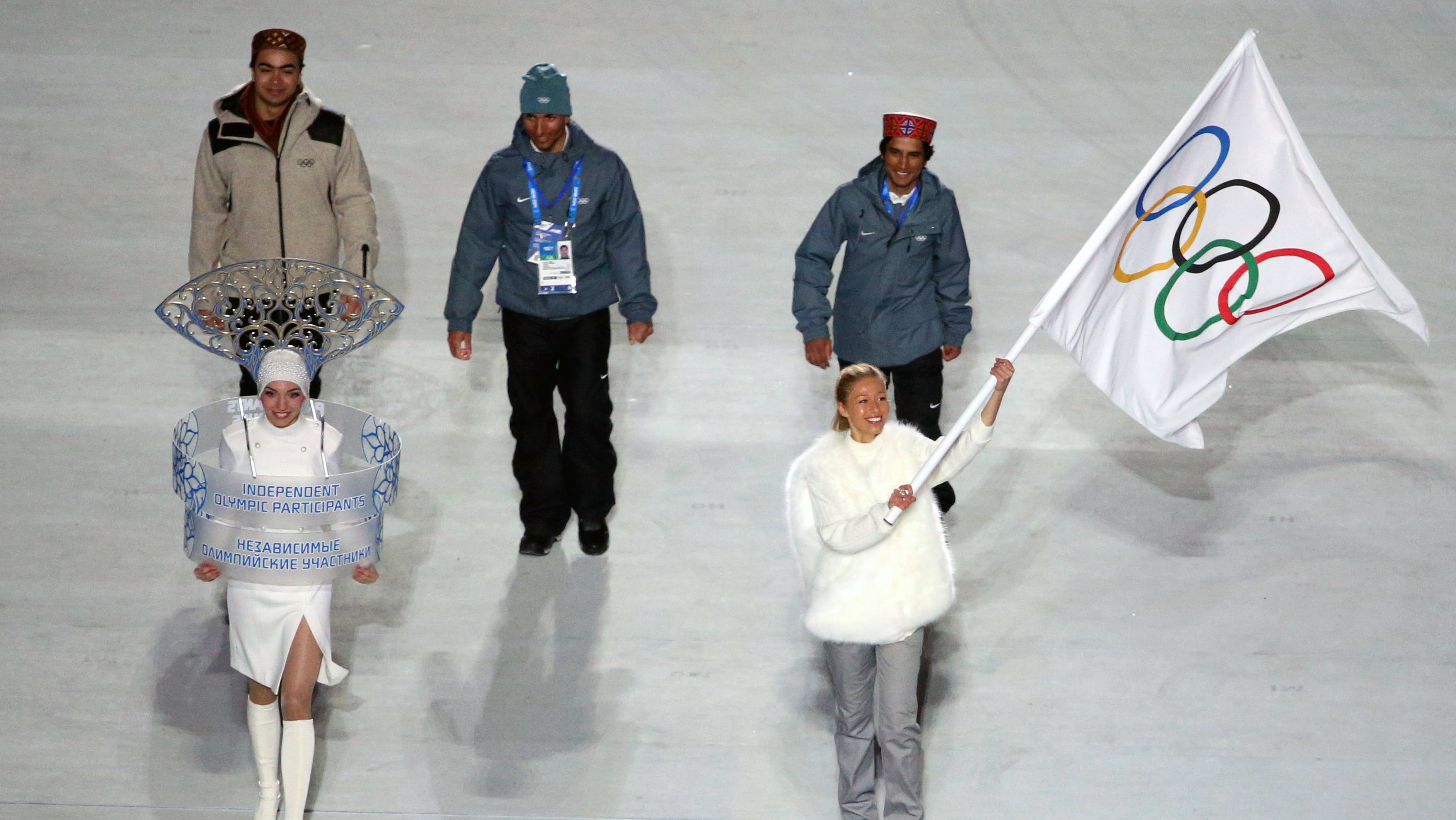 ndian athletes starting as Independent Olympic Participants enter the stadium during the Opening Ceremony of the Sochi 2014 Olympic Games at the Fisht Olympic Stadium, Sochi, Russia, 07 February 2014.