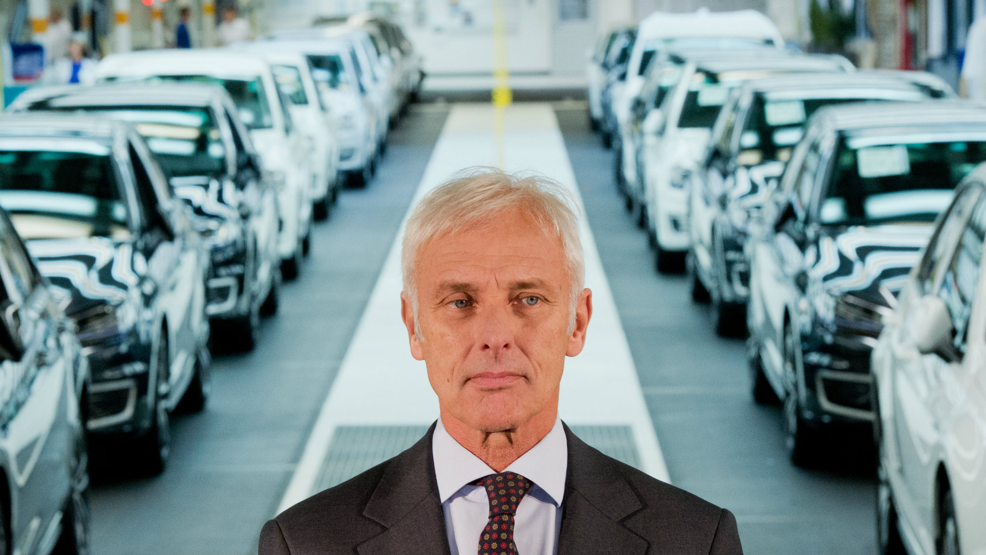 Matthias Mueller, CEO of Volkswagen AG, stands after a tour in the Volkswagen plant in Wolfsburg, Germany, 21 October 2015.