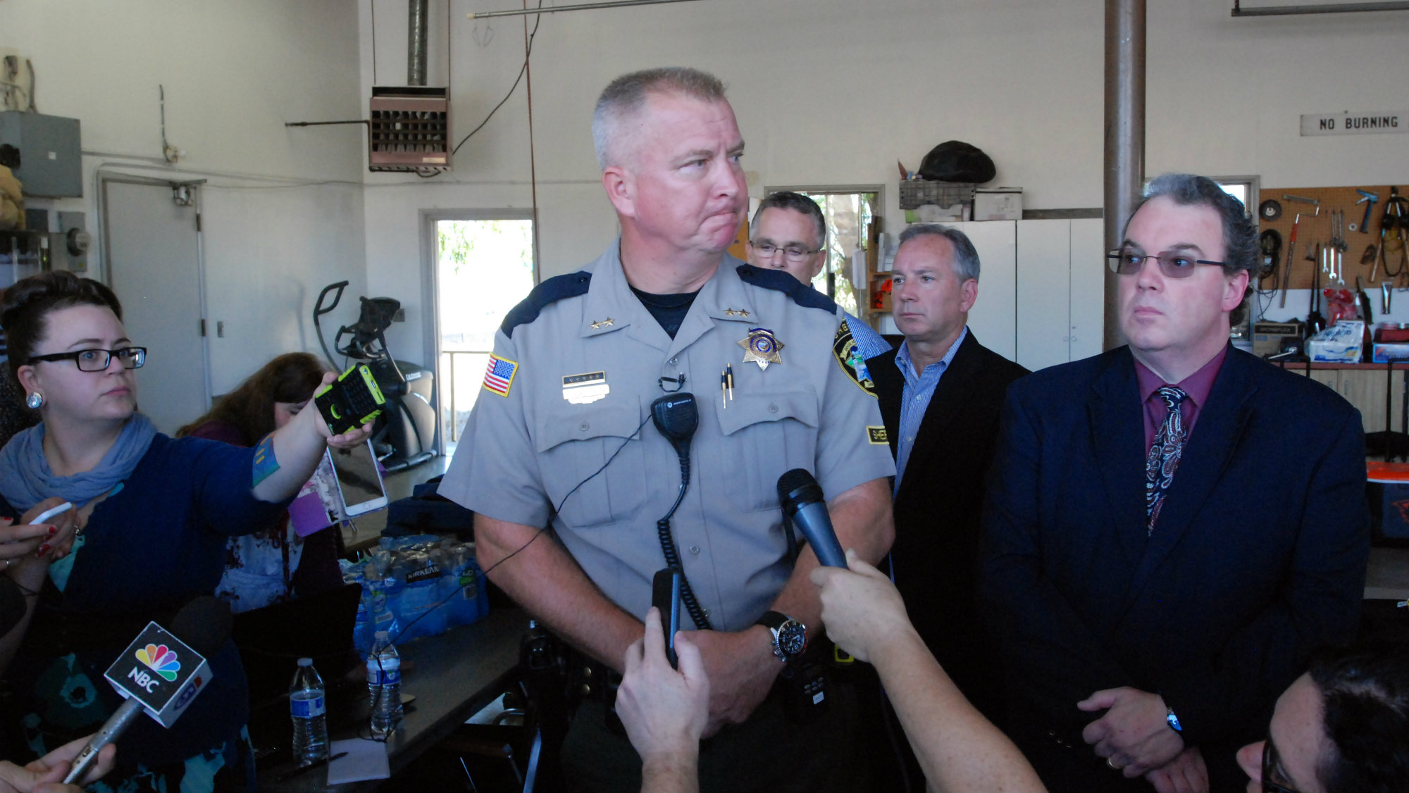 Douglas County Sheriff John Hanlin addresses the media following a deadly shooting at Umpqua Community College in Roseburg, Ore., Thursday, Oct. 1, 2015.