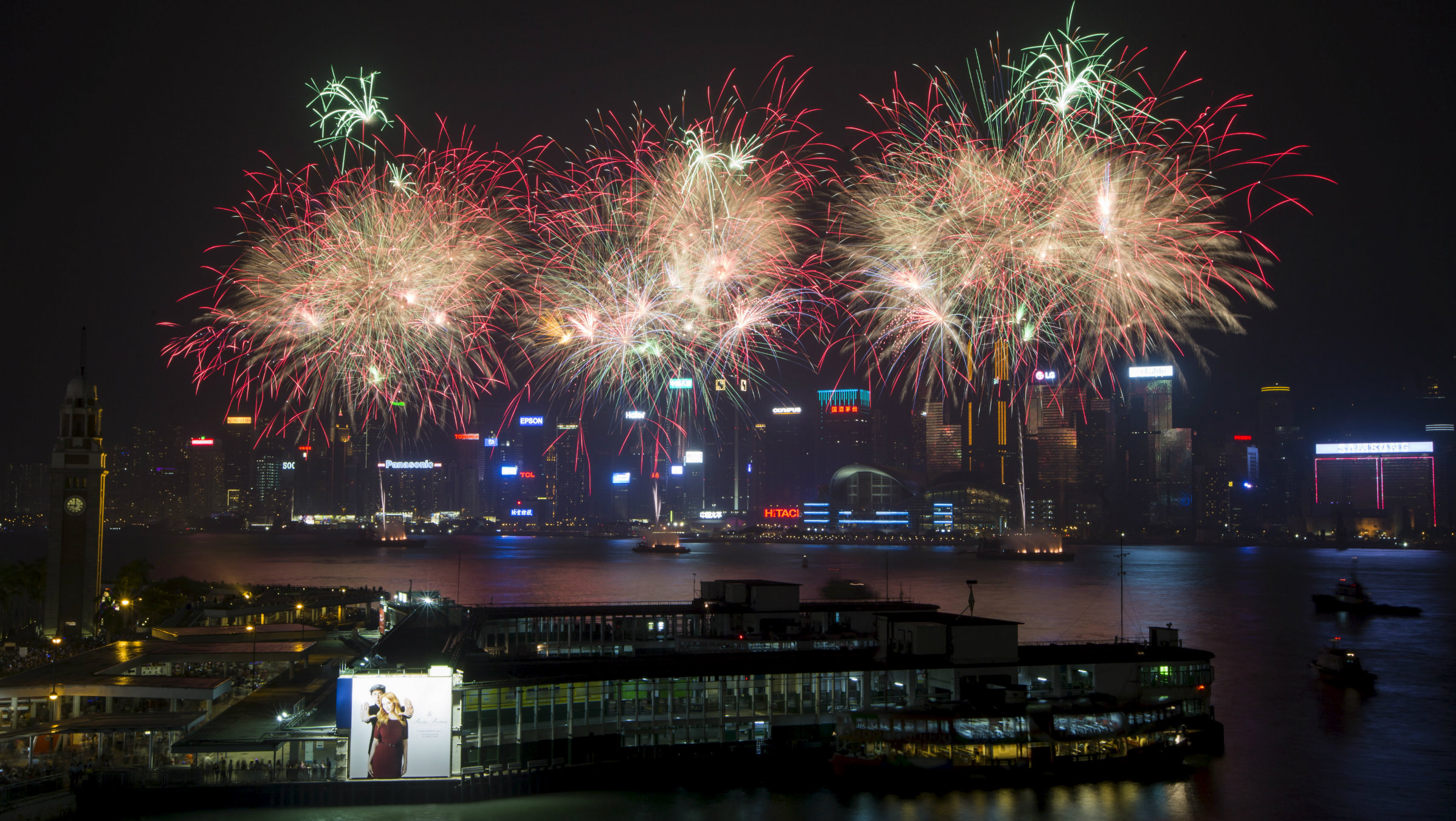 Fireworks over Victoria Harbor in Hong Kong.