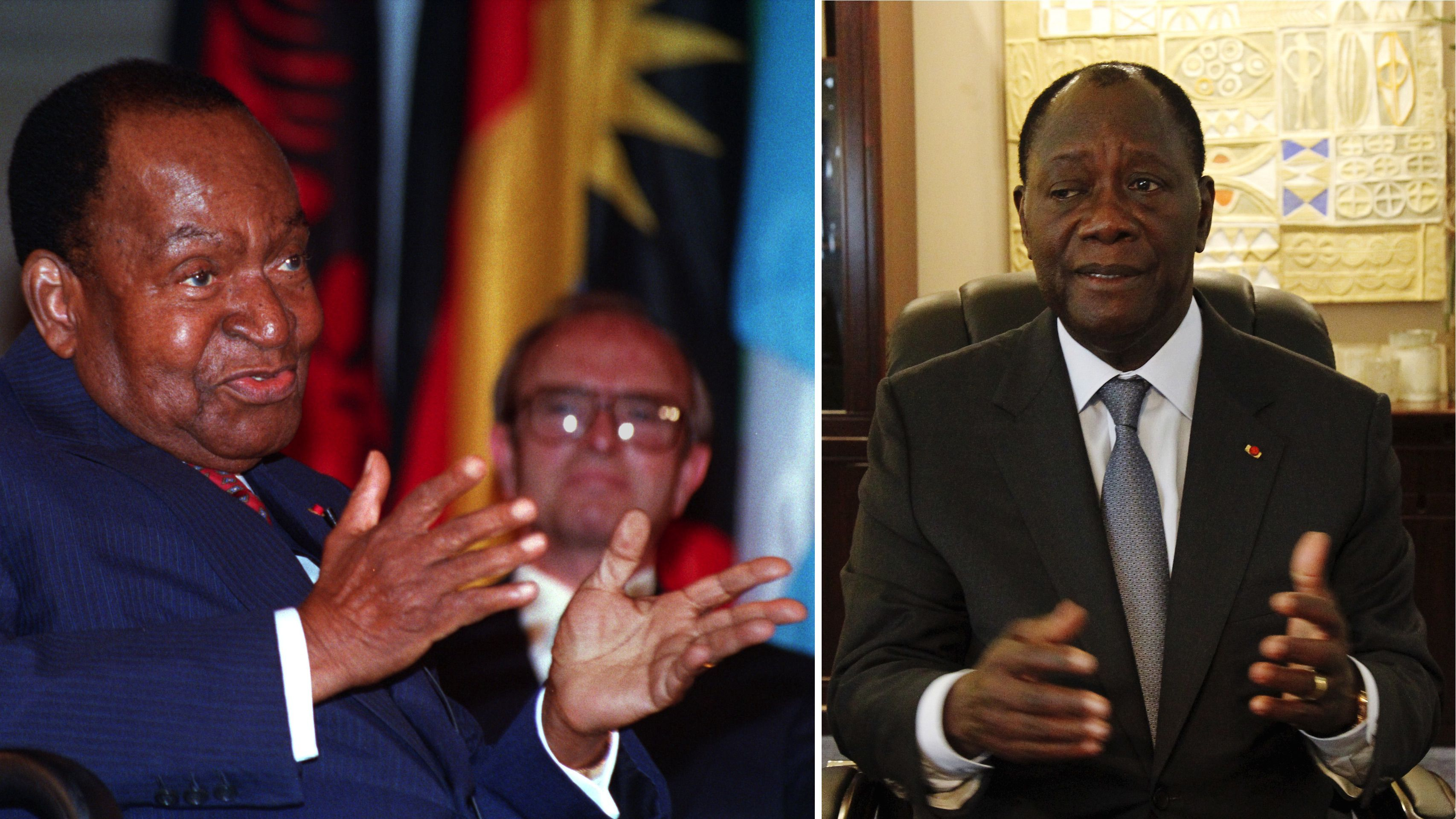 Félix Houphouët-Boigny in 1993 (left) and Alassane Ouattara in 2015 (right)