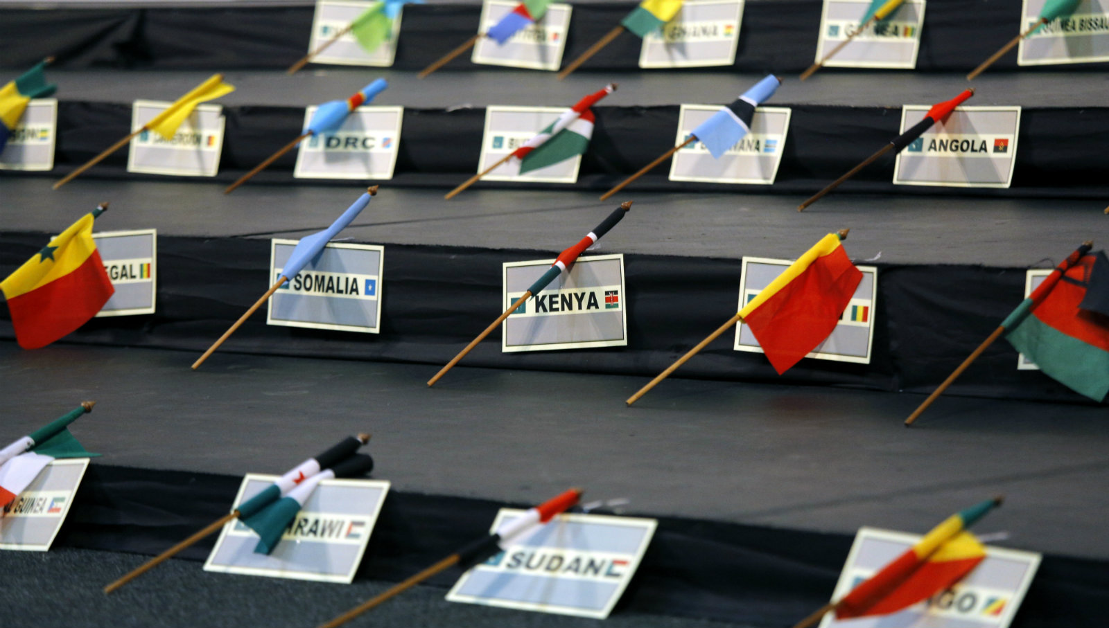 The flags and names of some of the African countries are seen prior to the 'Family photograph' taken at the AU Summit in Sandton, Johannesburg, South Africa, 14 June 2015. The African Union Summit sees African heads of state gather in Sandton City.