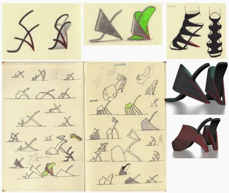 Some of Asanaliev's design sketches and mock-ups that he sent to United Nude.