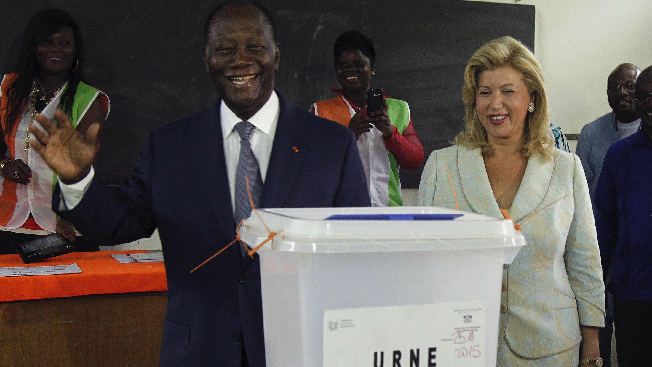 Ivorian president Alassane Ouattara has won a second term.