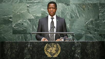 Zambian President Edgar Lungu speaks before attendees during the 70th session of the United Nations General Assembly.
