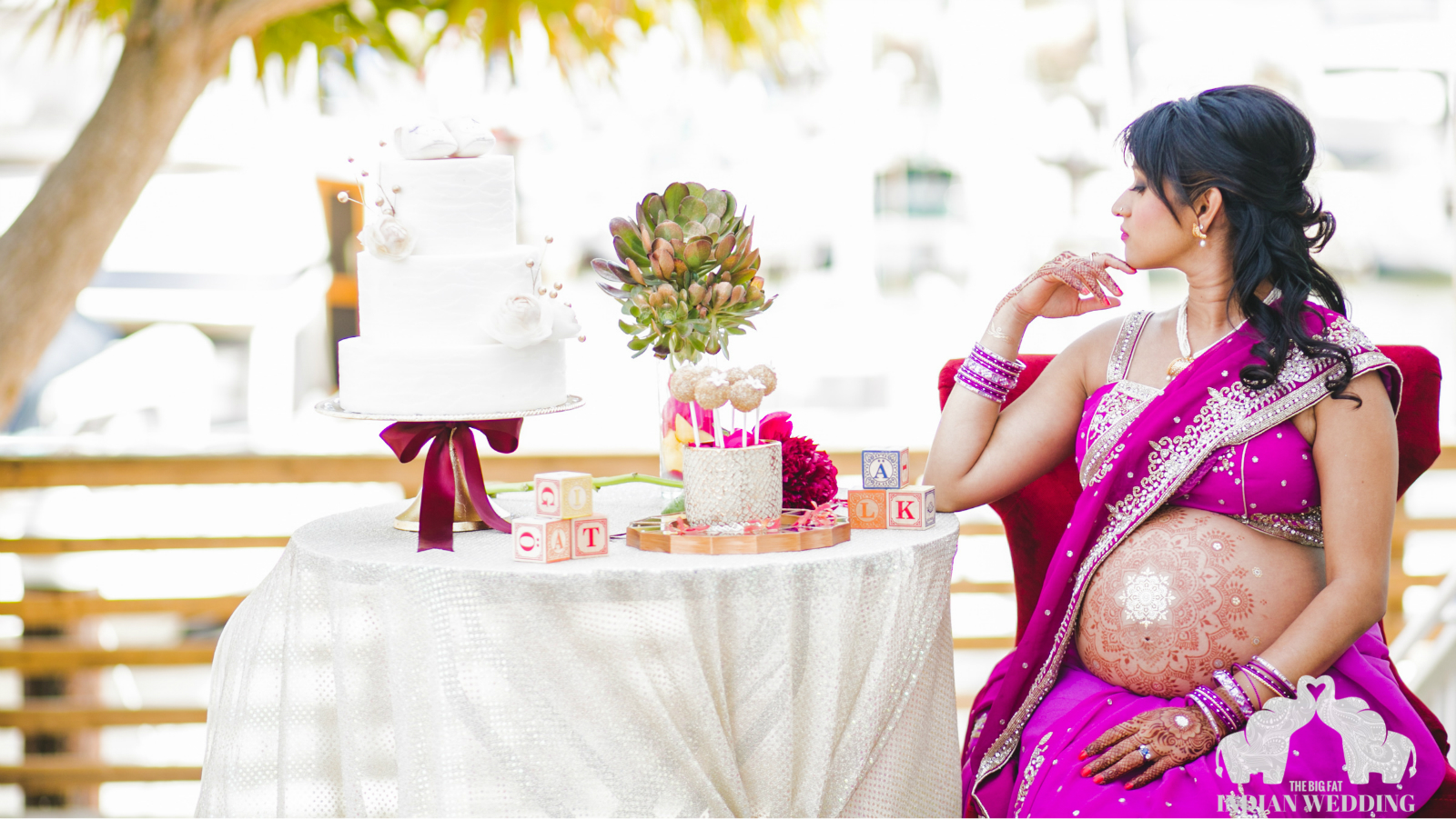An Indian maternity photo shoot with glitters, bridal ...