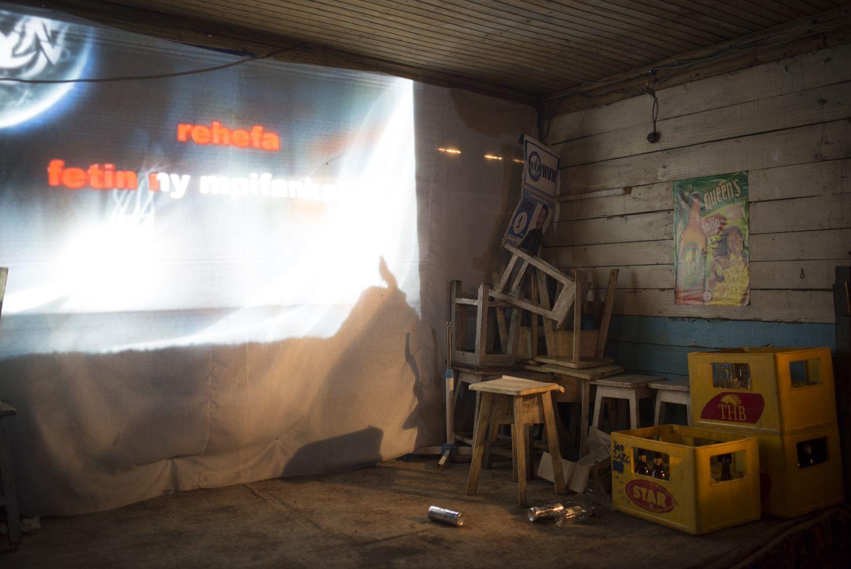 Karaoke screen in Manakara