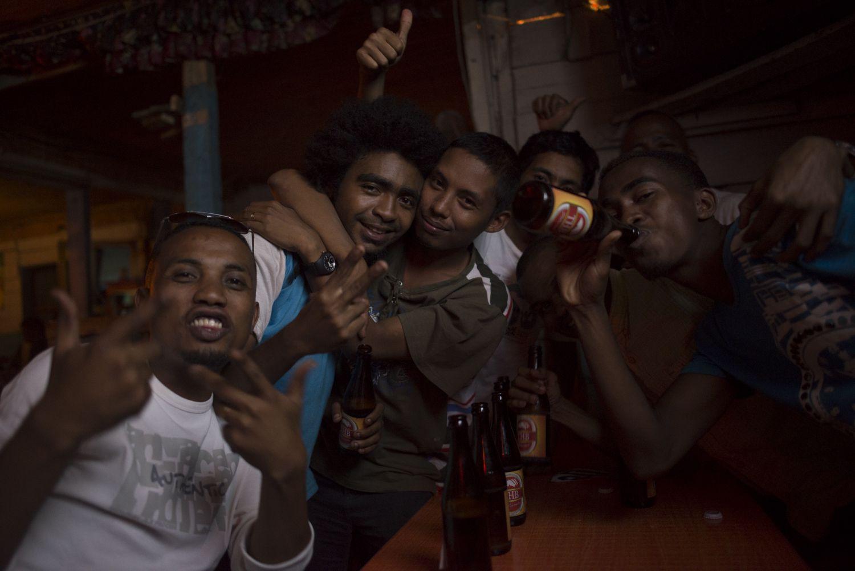 Young people at a karaoke bar in Manakara