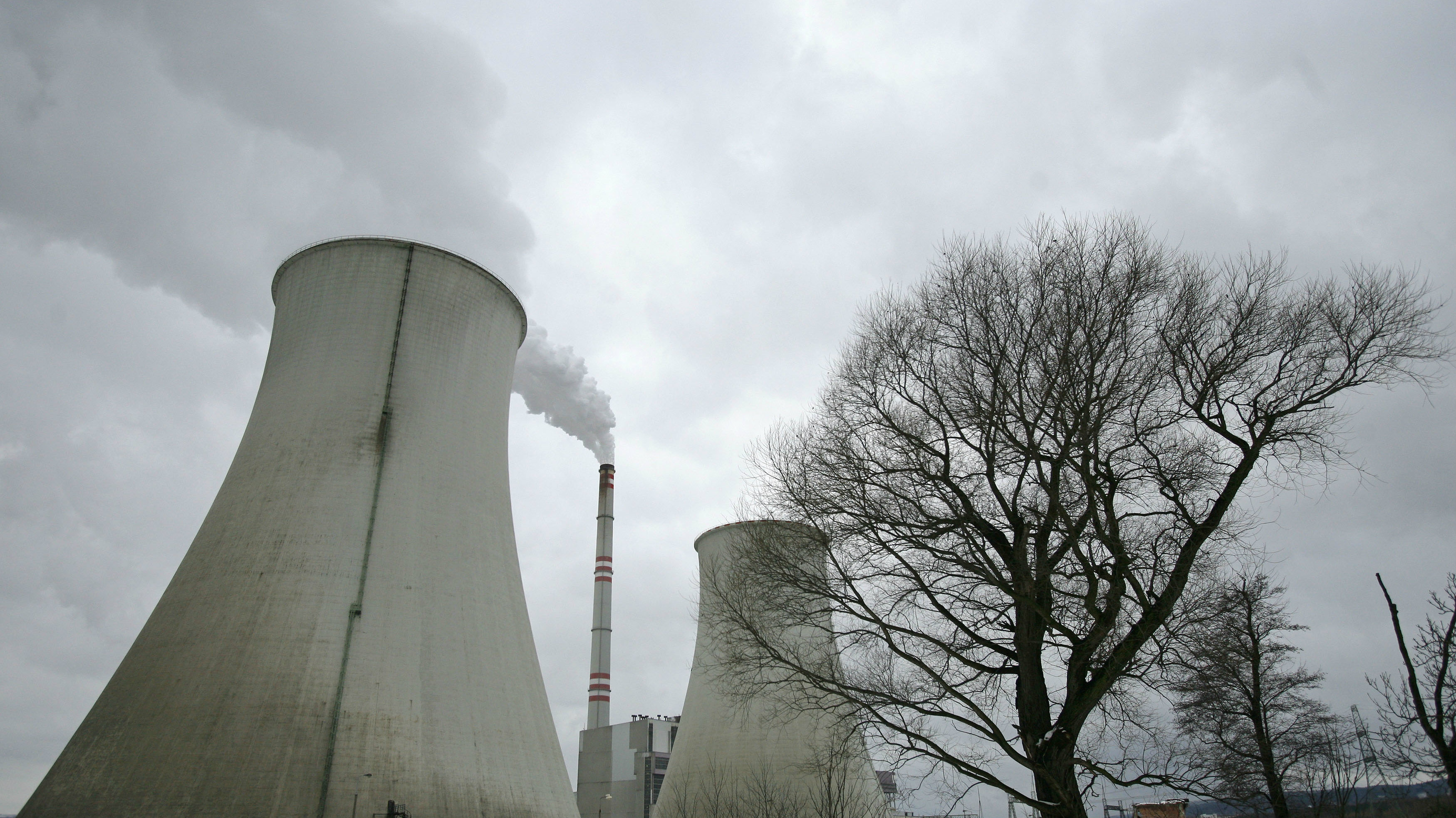 Cooling towers of Czech coal-fired power plant Prunerov II are seen in Prunerov.