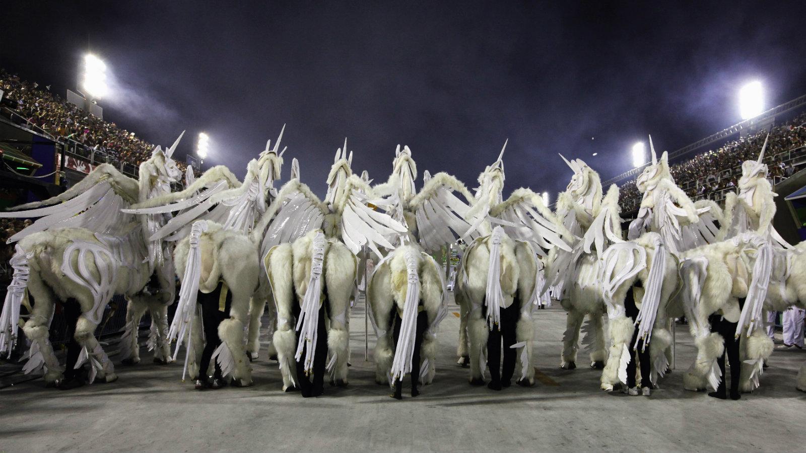 Revellers in unicorn costumes from the Grande Rio samba school participate in the second night of the annual Carnival parade in Rio de Janeiro's Sambadrome February 21, 2012.