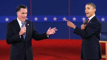 U.S. Republican presidential nominee Mitt Romney (L) and U.S. President Barack Obama speak directly to each other during the second U.S. presidential debate in 2012.