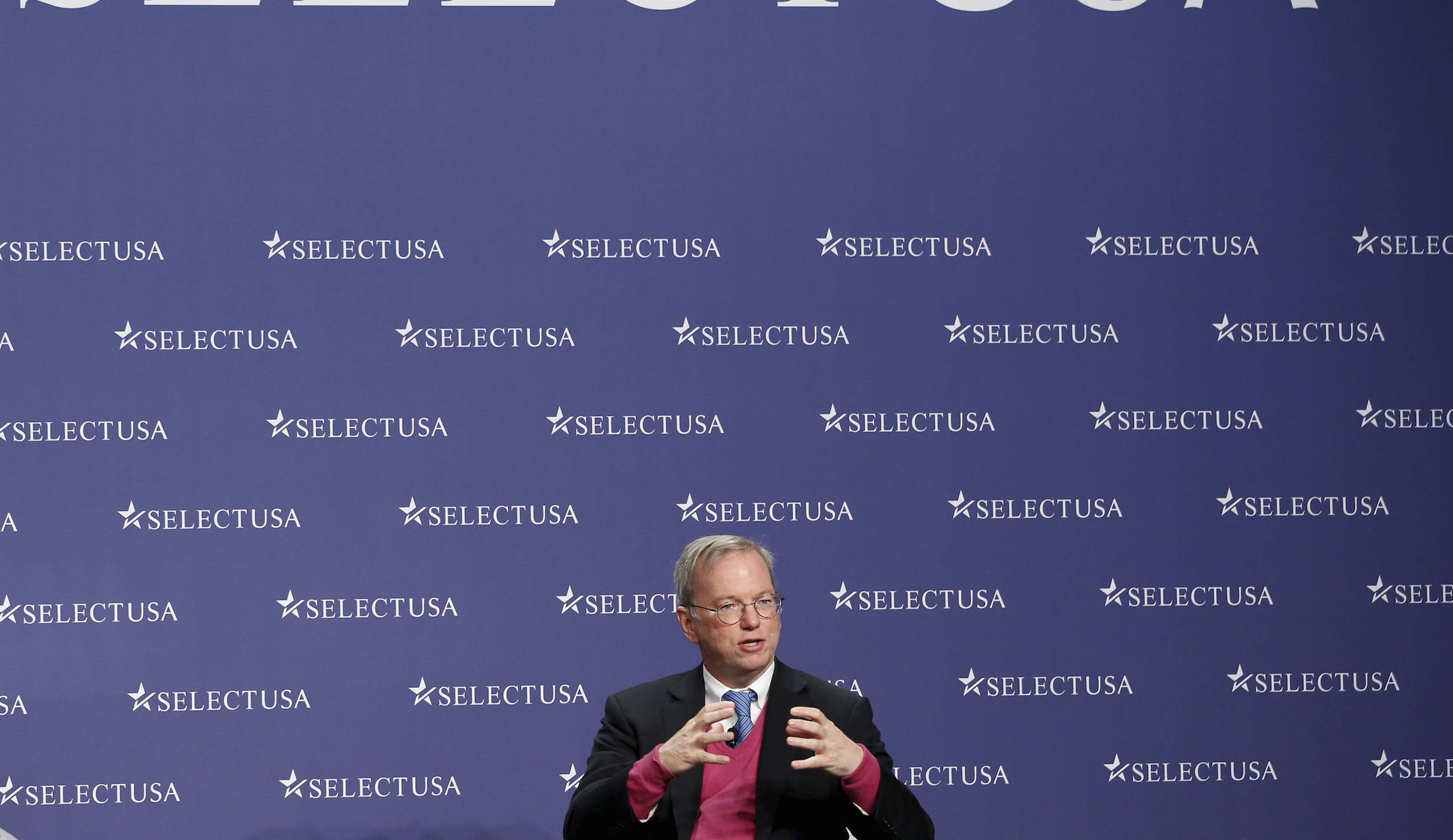 """Google Executive Chairman Eric Schmidt speaks during a Plenary session on """"Training Your Skilled Workforce"""" at the SelectUSA Investment Summit at National Harbor, Maryland March 24, 2015. REUTERS/Yuri Gripas - RTR4UOVS"""