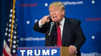 U.S. Republican presidential candidate Donald Trump speaks at a campaign rally.