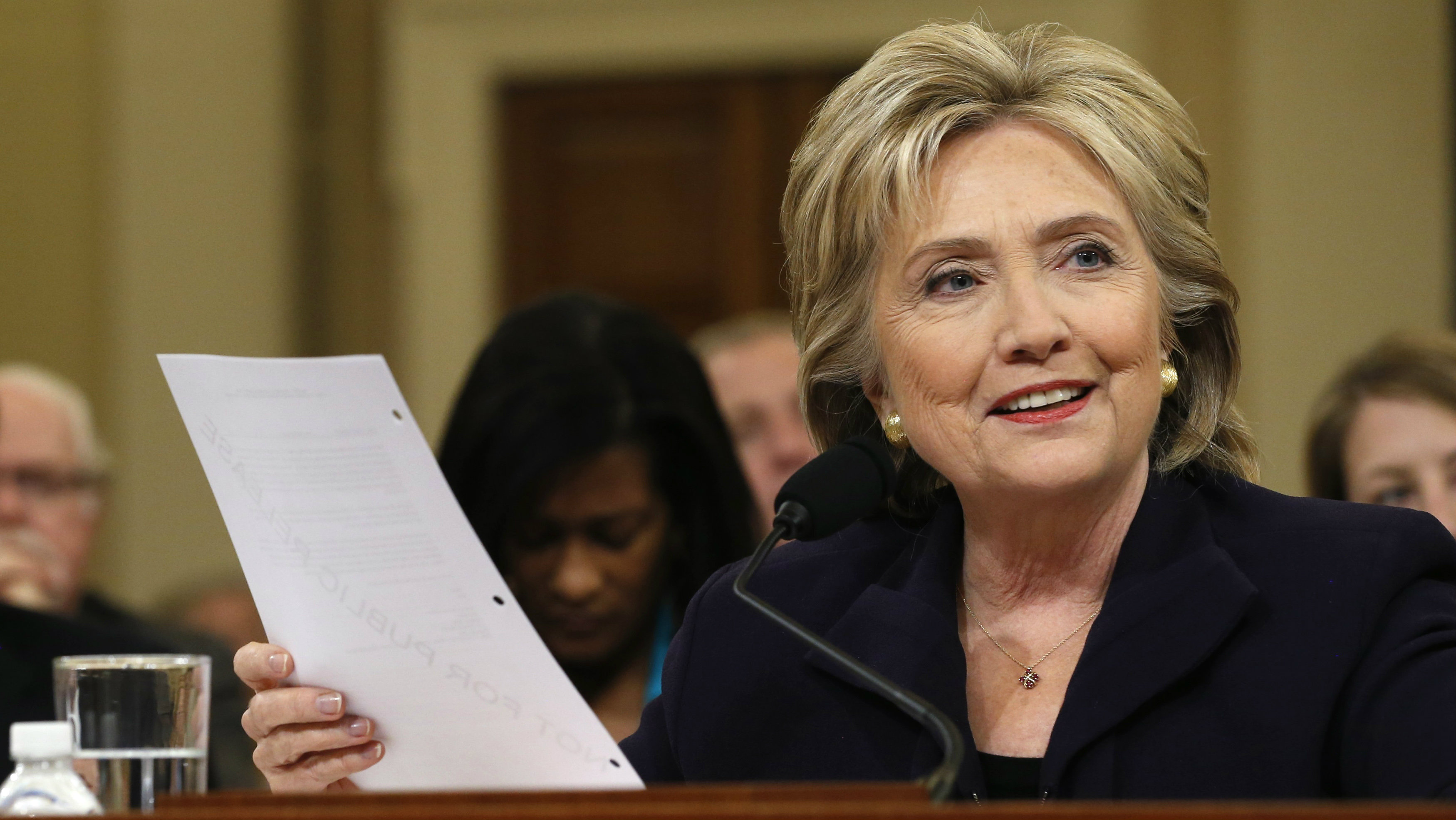 Democratic presidential candidate Hillary Clinton testifies before the House Select Committee on Benghazi, on Capitol Hill in Washington October 22, 2015.