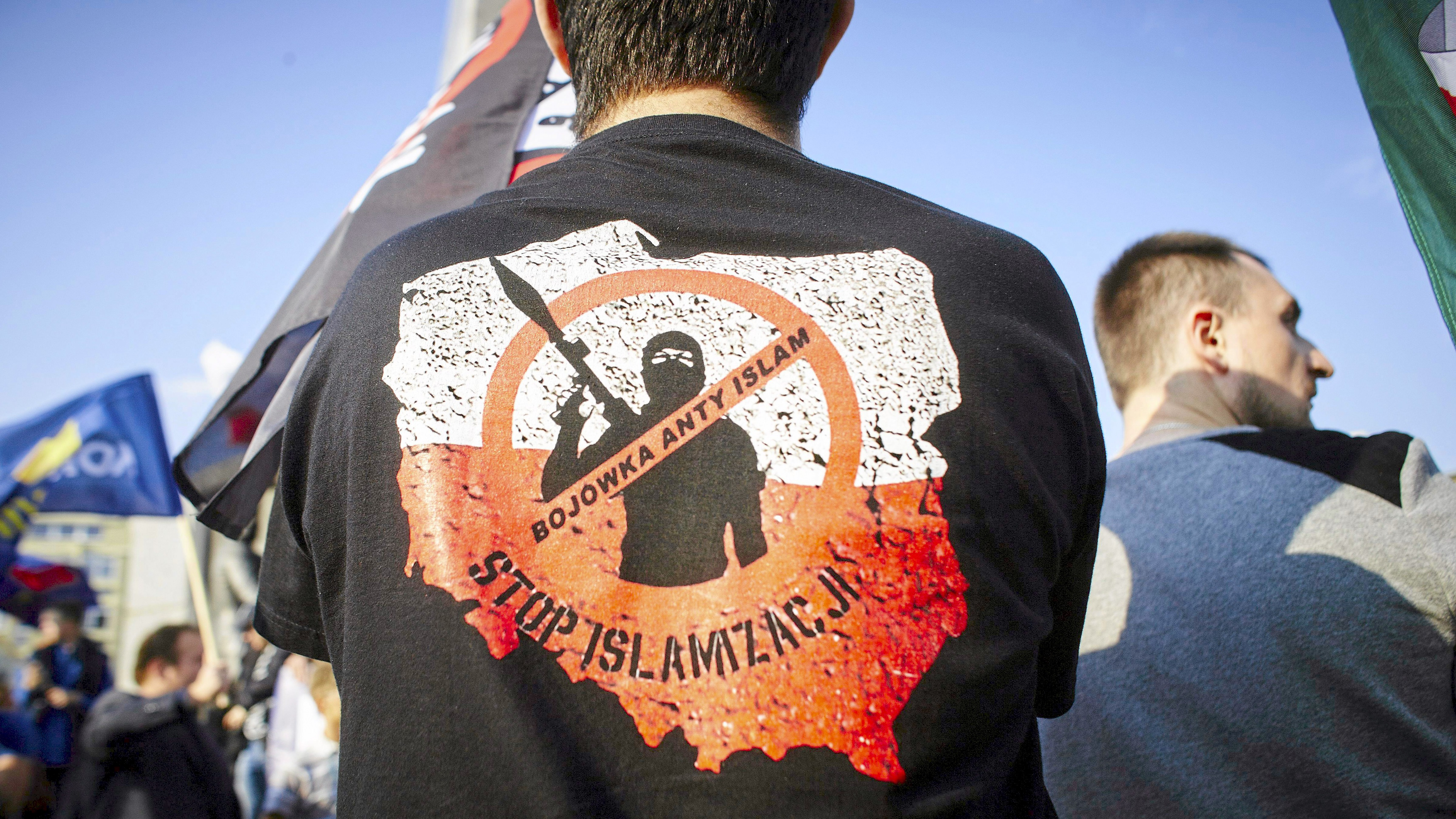 """Stop Islamization."" A far right protest."
