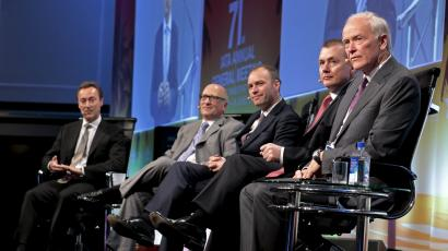 From left, airline industry executives, Fabrice Bregier, President and CEO of Airbus, David L. Joyce, President and CEO of GE Aviation, Aengus Kelly, CEO of AerCap, Willie Walsh, CEO of IAG and Tim Clark, President and CEO of Emirates Airlines as they speak during a panel discussion at the 2015 International Air Transport Association (IATA) Annual General Meeting (AGM) and World Air Transport Summit in Miami Beach, Florida, June 8, 2015. REUTERS/Joe Skipper