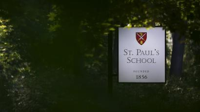 A sign marks the entrance to St. Paul's School.
