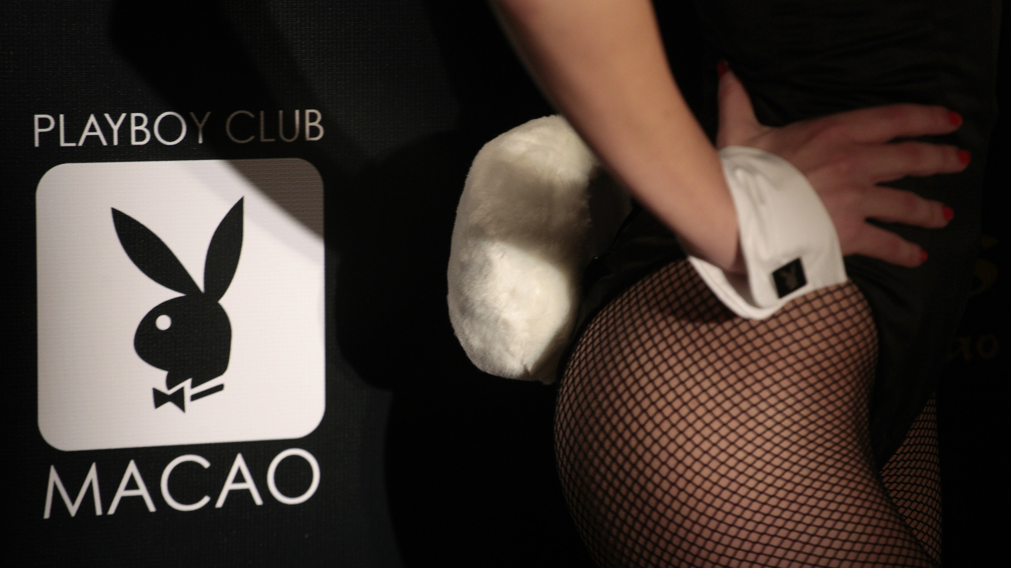 A Playboy Club Macao Logo is pictured during a promotional event for the upcoming opening.